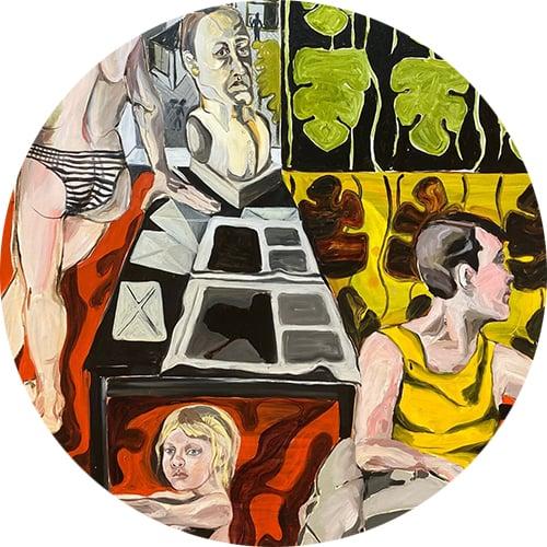 Yksityiskohta taidemaalari Siiri Haarlan teoksesta.