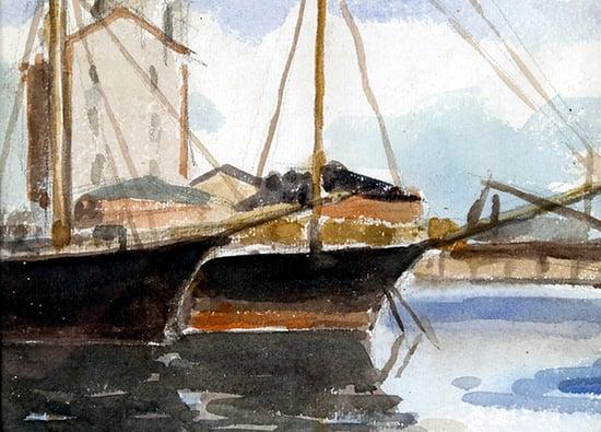 Kuvataiteilija Kylli Kosken (Kylli-täti) teos Satama, akvarelli vuodelta 1977.