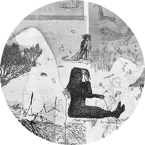 Yksityiskohta taidegraafikko Marjatta Hanhijoen teoksesta.